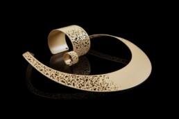necklace shield jewelry nude sand beige bangle bracelet ring halsreif armreif designerschmuck