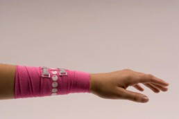 healer elastic sports and jewelry bandage with pearl bracelet print and bling glitter clasps
